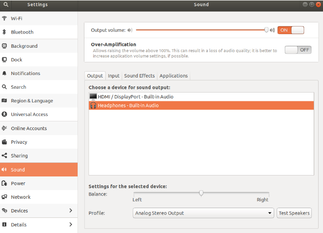 Elegir dispositivo de audio por defecto en Ubuntu