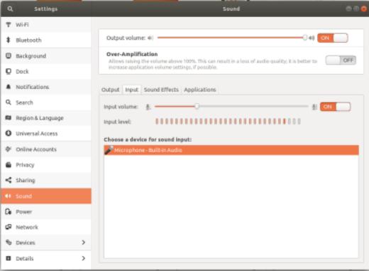 probando el micrófono desde la configuración de Ubuntu