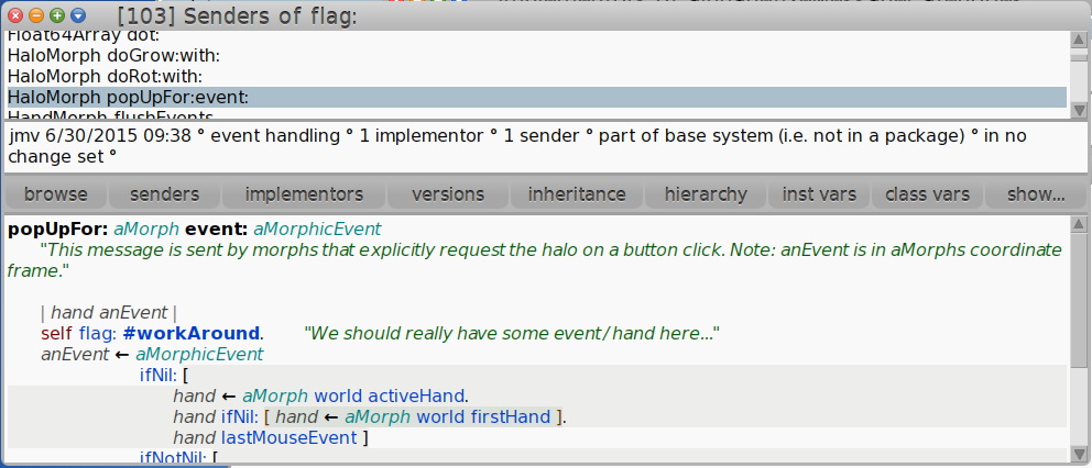 Using the live flagging system in Cuis Smalltalk