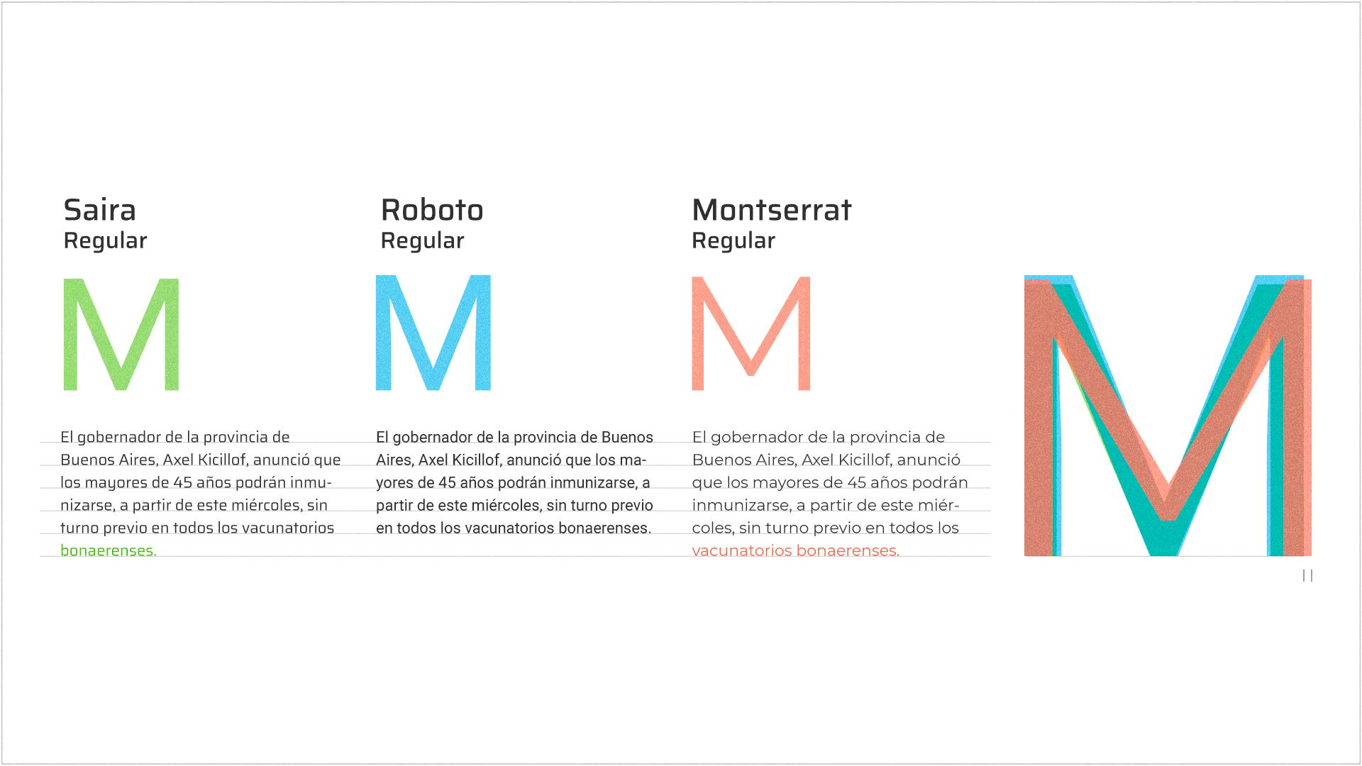 Comparación de anchos en diferentes tipografías