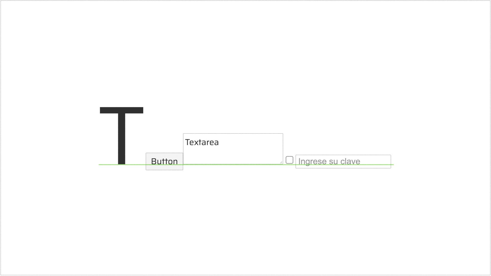 Línea de base en elementos de una UI